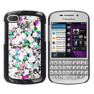 FECELL CITY // Duro Aluminio Pegatina PC Caso decorativo Funda Carcasa de Protección para BlackBerry Q10 // Abstract Teal Glitter White Purple