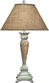 product image for Stiffel TL-6697-6698-DW One Light Table Lamp, Distressed White Finish with Natural Burlap Shade