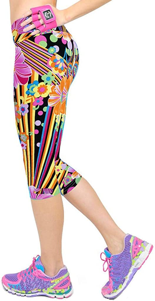 Leggings Pockets Stretch Control-RQWEIN Printed Yoga Pants High Waist Fitness Plus Size Workout Leggings for Women