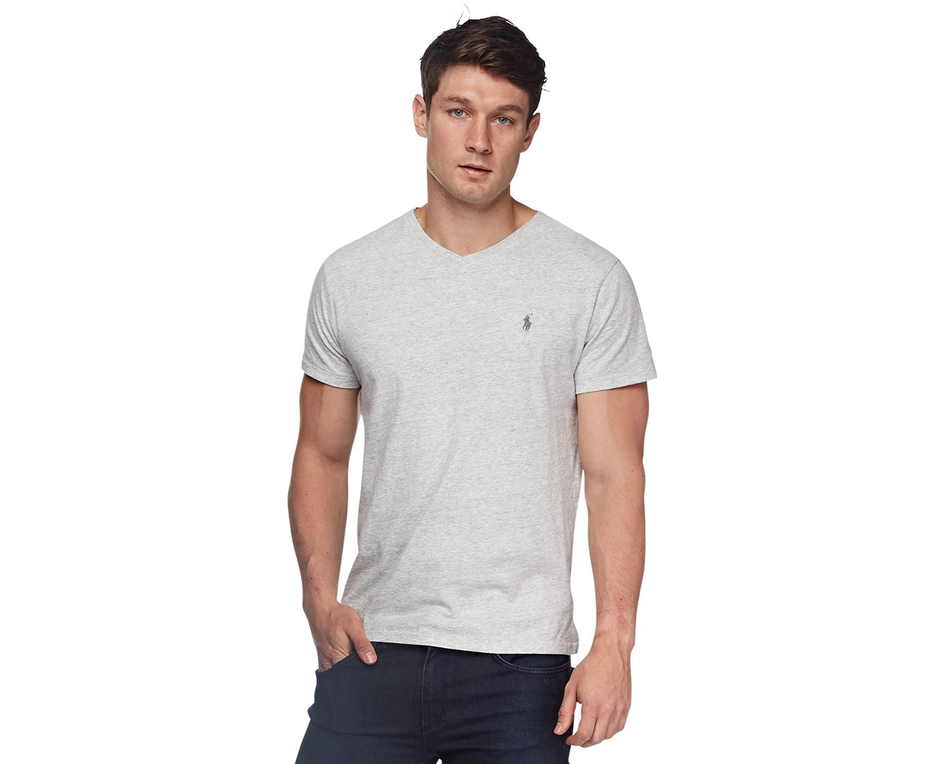 Polo Ralph Lauren Men's Classic Fit V-Neck T-Shirt (Lawrence Grey, Small)