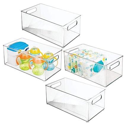 mDesign Juego de 4 cestas organizadoras para artículos de bebé – Contenedor plástico con Asas para un cómodo Transporte, sin Tapa – Caja para bebé ...