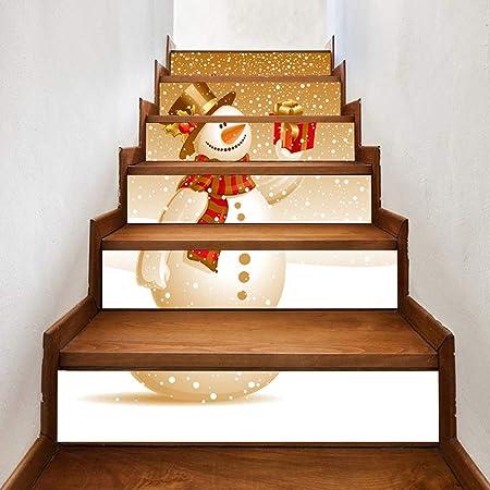 Catkoo Feliz Navidad Pegatinas, Lindo Muñeco De Nieve Imprimir Escalera Escalera Pegatina Adhesivo Calcomanía Navidad Decoración para El Hogar: Amazon.es: Hogar
