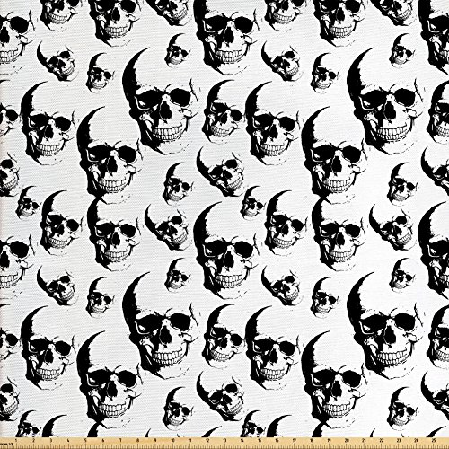 Fabric Halloween Skull Skeleton (Skull Fabric by the Yard by Lunarable, Skulls Pattern Monochrome Detailed Sketch Human Skeleton Head Fear Halloween Theme, Decorative Fabric for Upholstery and Home Accents, Black White)