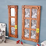 6/3 multi-frame photo wall retro 6-inch combination photo frame photo wall photo frame home decoration American country (Color : Orange, Style : Six boxes)