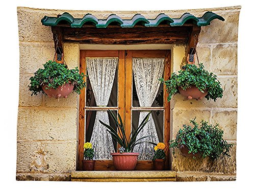 vipsung Shutters Decor Tablecloth Basket of Flowers at Historic Building Window with Classic Lace Curtain Inside Image Dining Room Kitchen Rectangular Table Cover