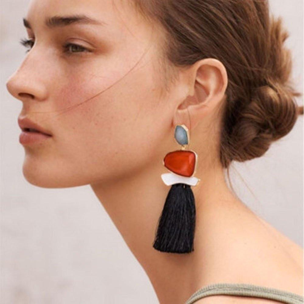 Kercisbeauty unico Overstate rosso/verde/arancione pietre preziose orecchini con panno nappe ciondolo orecchini Dangles per donne e ragazze, regalo perfetto per lei, compleanno, anniversario, Daily, accessori per feste