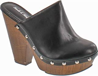 5a31f52c77d Mark and Maddux Antonio-06 Wood Effect Platform Women s Clogs in Black