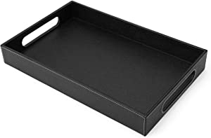 Lewondr Valet Tray with Wide Handle, PU Leather Ottoman Serving Tray, 14.96