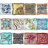 LilMents 12 Mixed Designs Small Square Satin Womens Neck Head Scarf Scarves Bundle Lot Set (Set I)