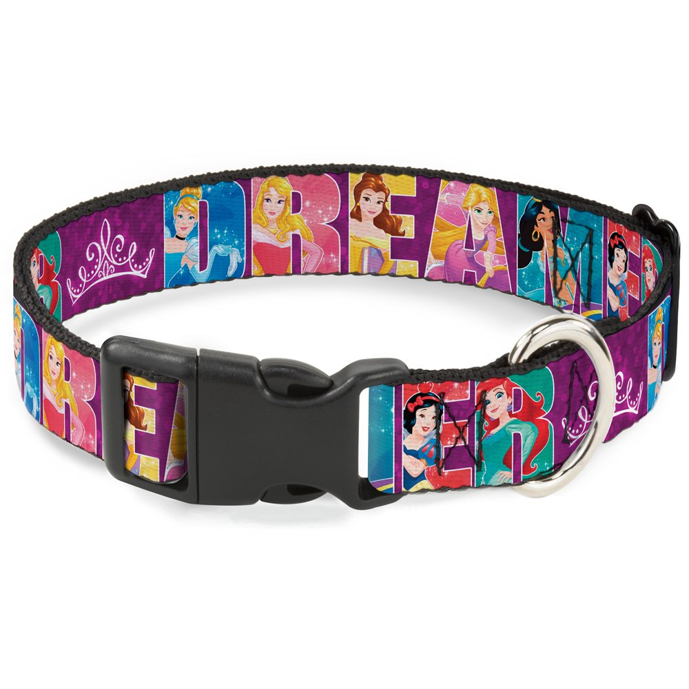 Buckle-Down Breakaway Cat Collar - Disney DREAMER 7-Sparkling Princesses/Tiara Purple/White - 1/2'' Wide - Fits 6-9'' Neck - Small