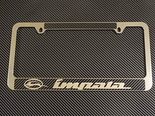 AtoZCustoms Chevy Impala Chrome Metal License Plate Frame Carbon Fiber Chrome Text