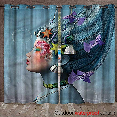 cobeDecor Mermaid Outdoor Curtains for Patio Sheer Woman Oceanic Hairstyle W84 x L108(214cm x 274cm)