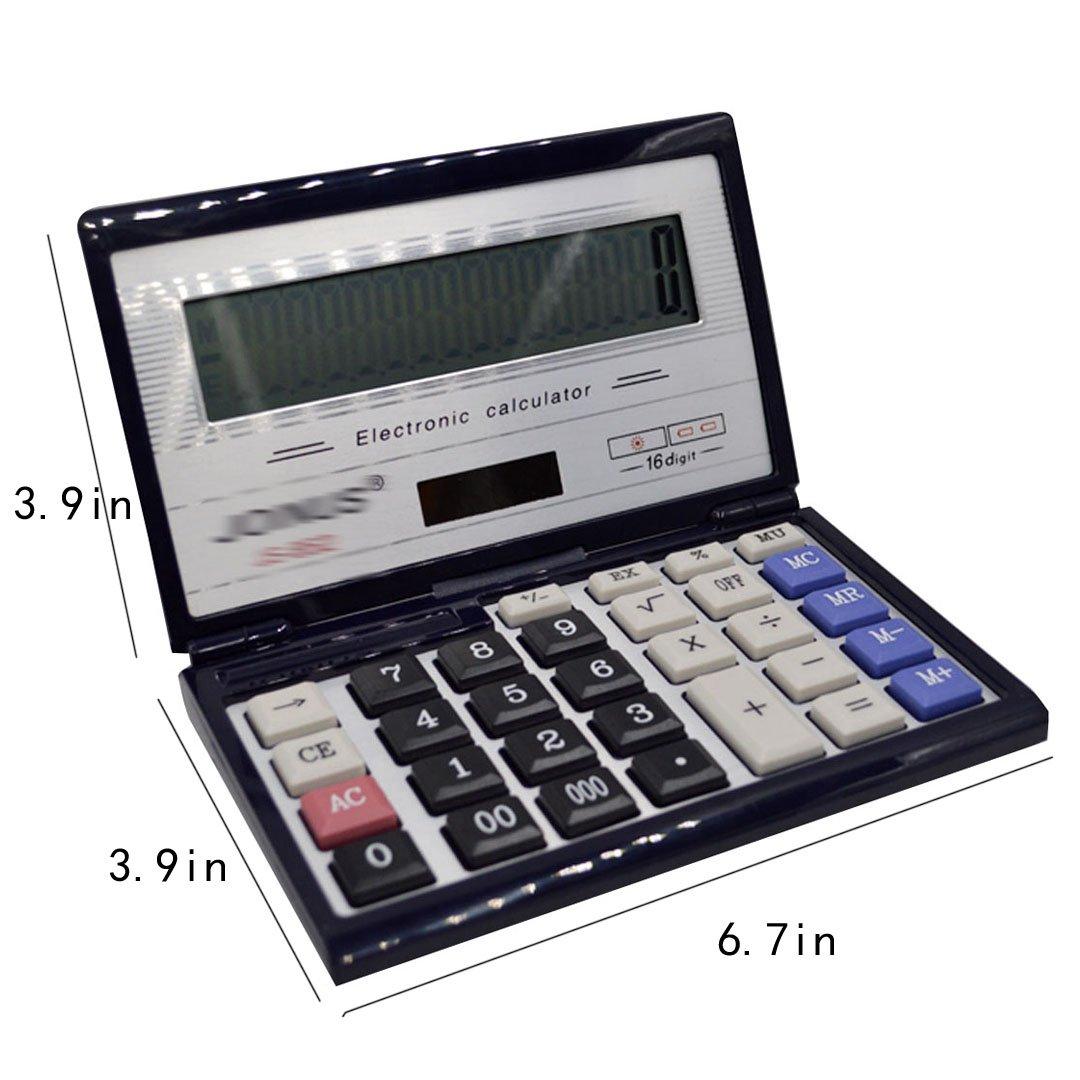 CLARA 16-Digit Basic Folding Compact Calculator Large LCD Flip Over Calculator Solar and AAA Battery Dual Power Calculator Black by CLARA (Image #7)