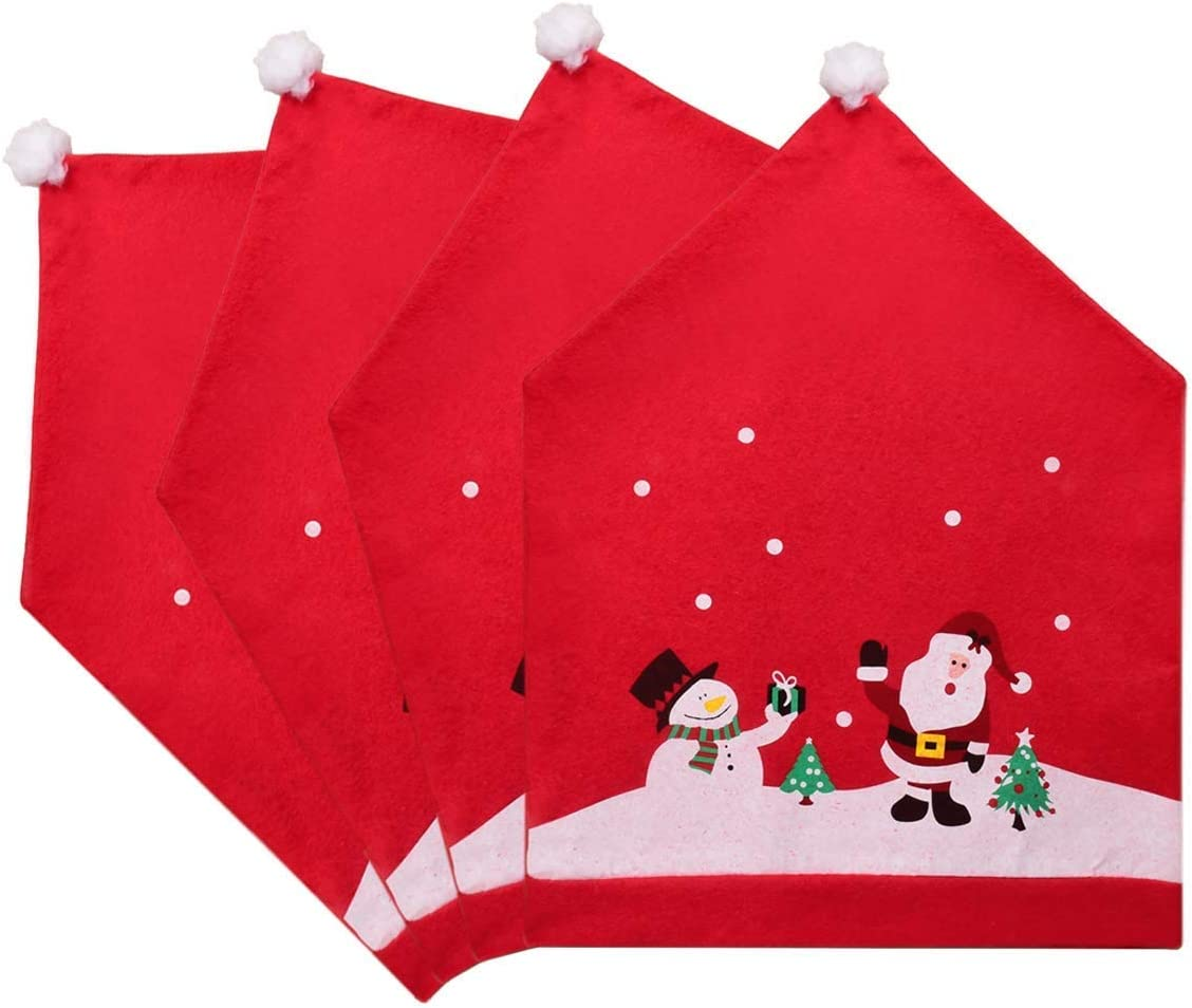 Amidaky Santa Claus Cap Chair Cover Set of 4 PCS Snowman Red Hat Back Seat Slipcover for Christmas Xmas Holiday Festive Gift Decor Home Restaurant Party Dinner Decorations