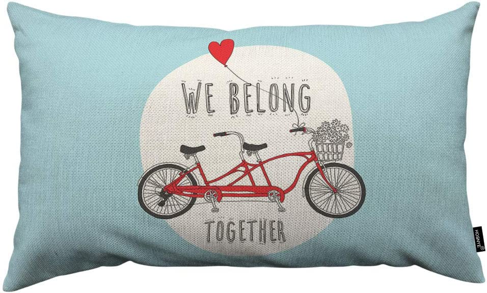 HOSNYE Valentine's Day Throw Pillow Cover Red Tandem Bike with A Balloon and We Belong Together Linen Fabric for Couch Bed Sofa Car Waist Cushion Cover 12 x 20 inch Pillow Case