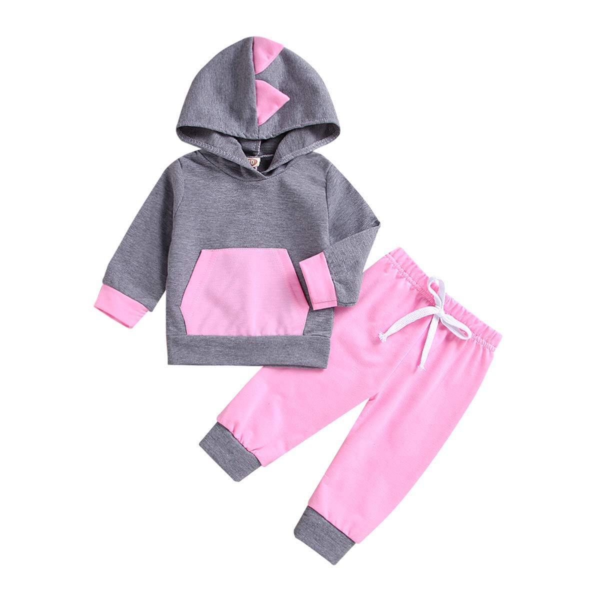 Zukuco Toddler Baby Girl Boy Hoodie Outfit Pocket Hooded Top + Cartoon Print Pants Clothes Set