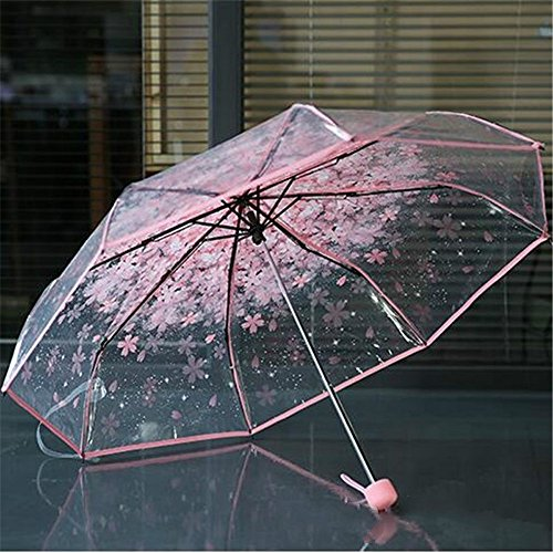 (1pc Three Fold Umbrella Women Transparent Clear Cherry Blossom Mushroom Sakura Folding Sunshade Rain Umbrellas by Xiaolanwelc (Pink))