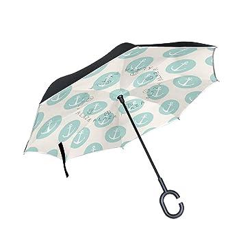 TIZORAX Paraguas Reversible de Doble Capa con Forma de C para la Lluvia, el Sol