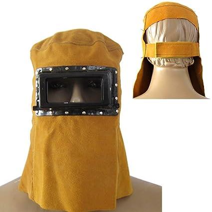EMVANV - Casco de soldadura de piel con máscara de soldador de cara completa, protector eléctrico, capucha ...