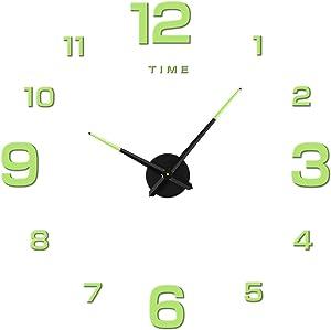 TENLEI Wall Clock, Large DIY Wall Clock, Modern 3D Wall Clock Number Sticker, Home Office Decoration Gift, with Fluorescence, Diameter 23