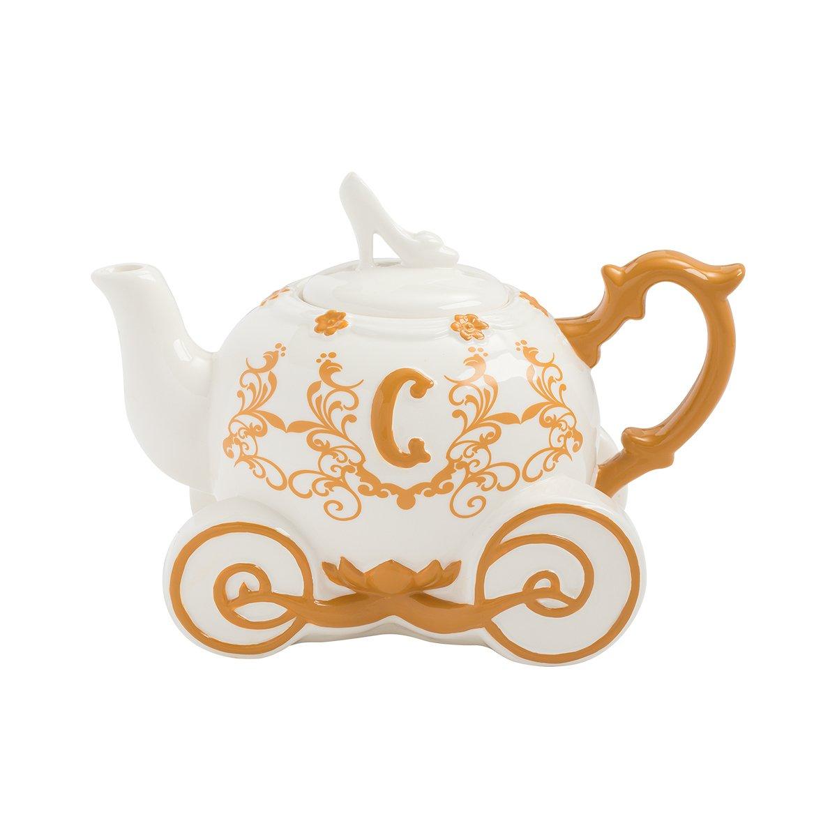 Vandor 90008 Disney Cinderella Carriage Sculpted Ceramic Teapot, Multicolored