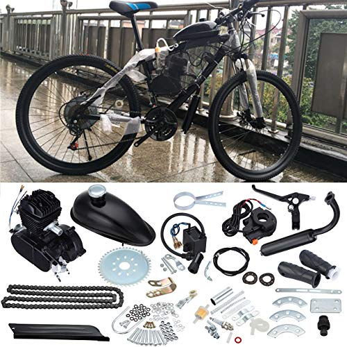 Sange 2 Stroke Pedal Cycle Petrol Gas Motor Conversion Kit Air Cooling Motorized Engine Kit for Motorized Bike (80cc Black)