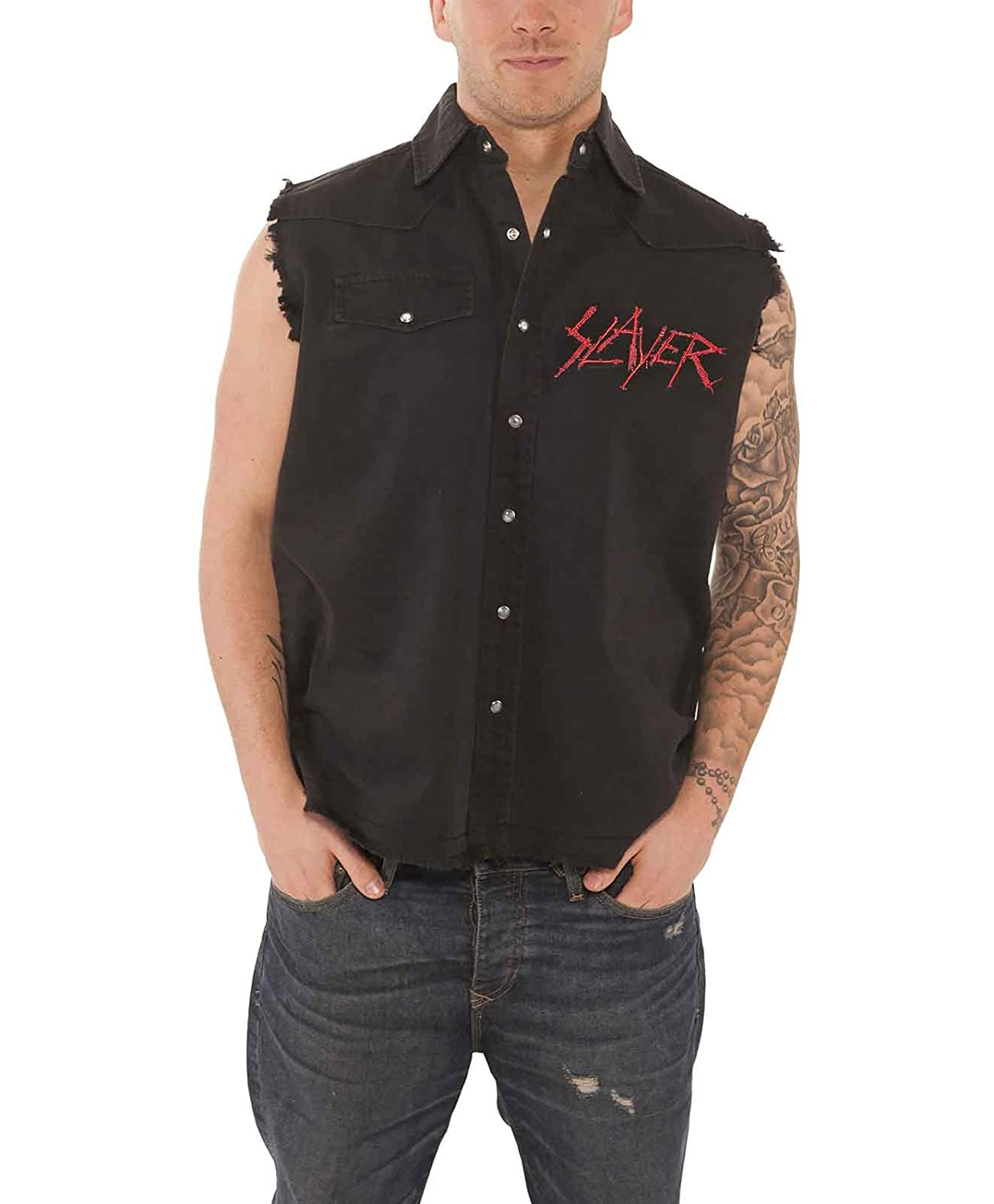 Slayer Black Eagle Official Mens New Black Sleeveless Work Shirt