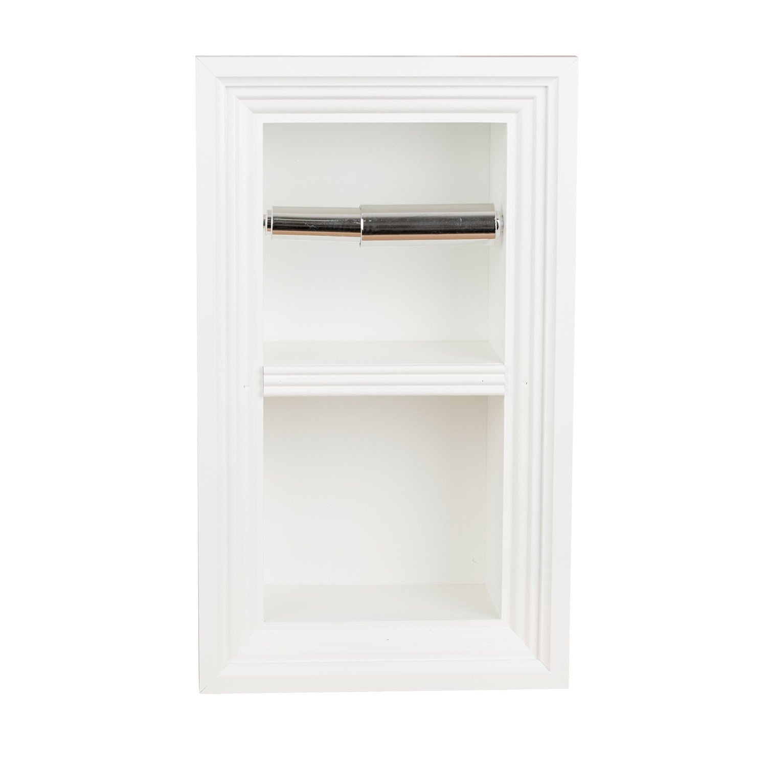 Florida Breeze Cabinets Zephyr Recessed Toilet Paper Holder with Spare Roll, Alabaster