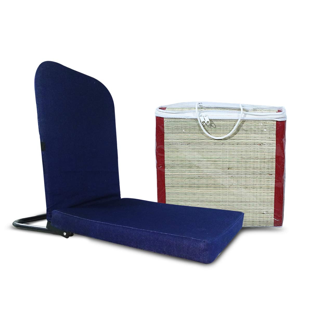 KAWACHI Right Angle Back Support Portable Relaxing Folding Yoga Meditation Floor Chair with ECO Friendly Yoga MAT