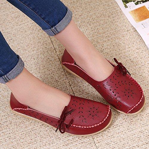 Vrouw Lente Herfst Comfortabele Slip-on Beanie Flats Rijden Zapatos Schoenen Wijnrood