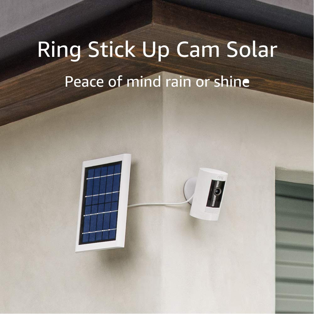All-new Ring Stick Up Cam Solar HD security camera with two-way talk, Works with Alexa – 3-Pack