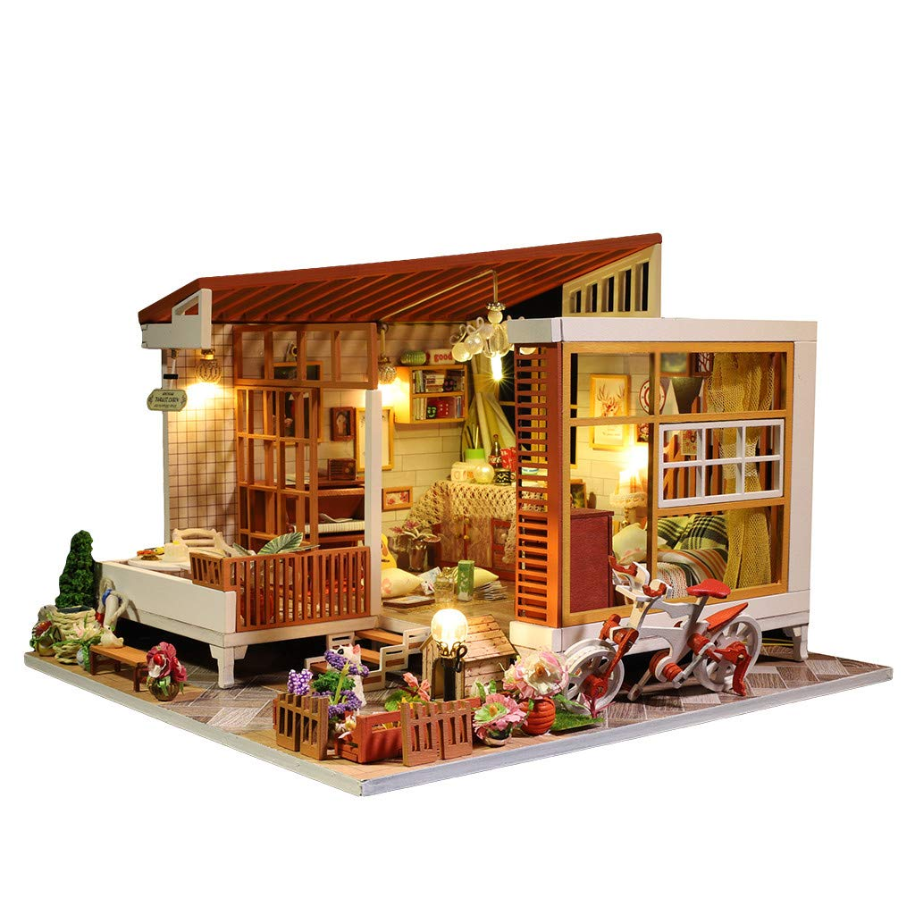 Gotd Clearance Wooden Dollhouse Miniature DIY House Kit for Kids,3D Wooden DIY Miniature House Furniture LED House Puzzle Decorate Creative Gifts for Kids (A) by Gotd Clearance