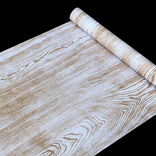 SimpleLife4U Rustic Wood Grain Contact Paper Nordic Style Self-Adhesive Shelf Liner Nightstands Sticker 17.7 Inch By 9.8 Feet by SimpleLife4U (Image #2)