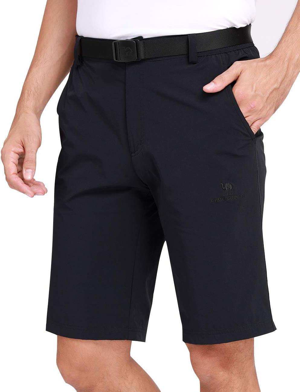 CAMEL CROWN Shorts dExt/érieur /à S/échage Rapide pour Hommes Short Cargo L/éger et Respirant avec Taille /Élastique pour Randonn/ée Cyclisme Loisirs