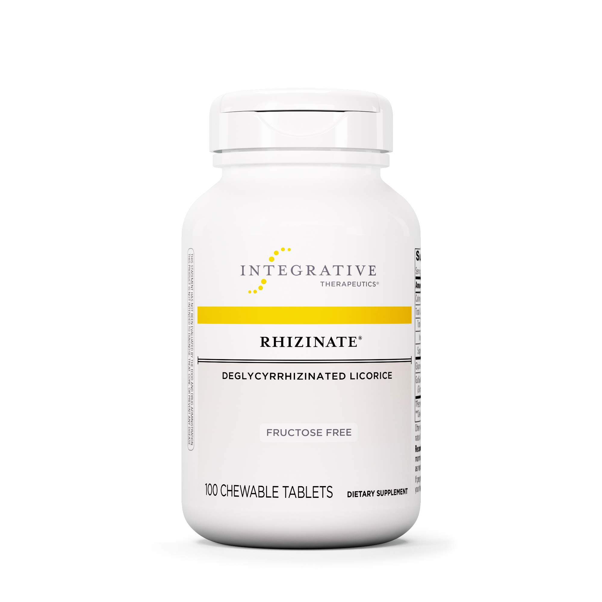Integrative Therapeutics - Rhizinate, Fructose Free - Deglycyrrhizinated Licorice (DGL) - Suppot Stomach and Intestinal Relief - Original Licorice Flavor - 100 Chewable Tablets by Integrative Therapeutics