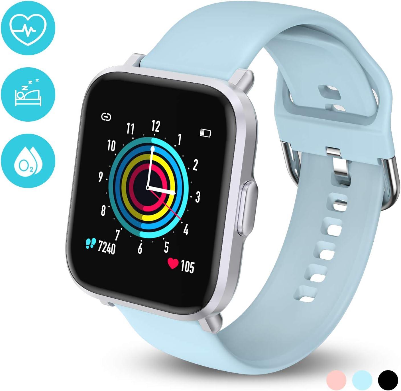 HolyHigh Smartwatch Reloj Inteligente Mujer Hombre Niño 18 Modos Deportivos Nadar Sueño REM SpO2 10 Días Autonomía 50M Impermeable Pulsera Actividad Pulsómetro Podómetro Brújula para Android iOS