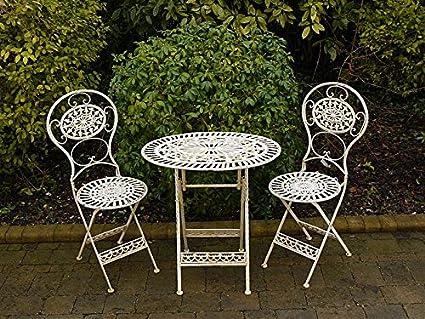 S/3, color blanco, hierro forjado ovalada Patio jardín mesa y sillas muebles Set B: Amazon.es: Oficina y papelería