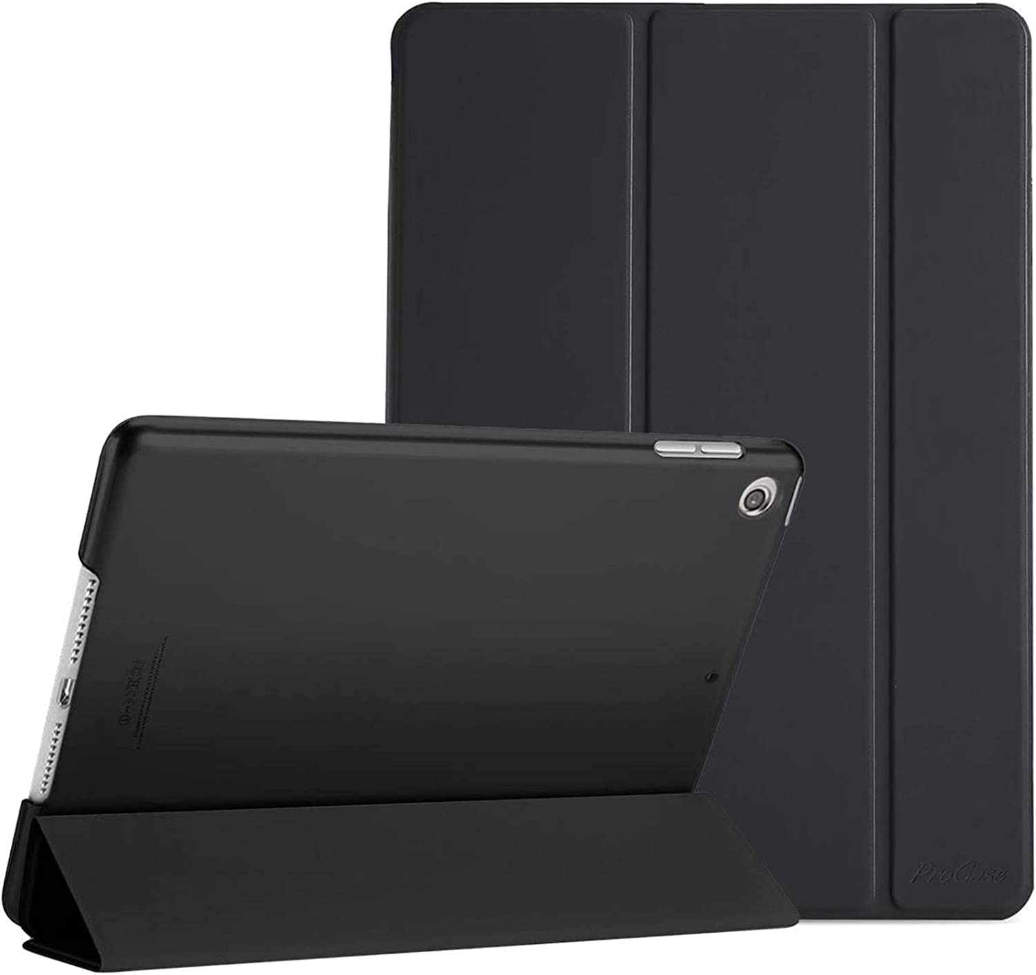 ProCase iPad 10.2 Case 2020 iPad 8th Generation / 2019 iPad 7th Gen Case, Slim Stand Hard Back Shell Protective Smart Cover Case for iPad 10.2 Inch -Black