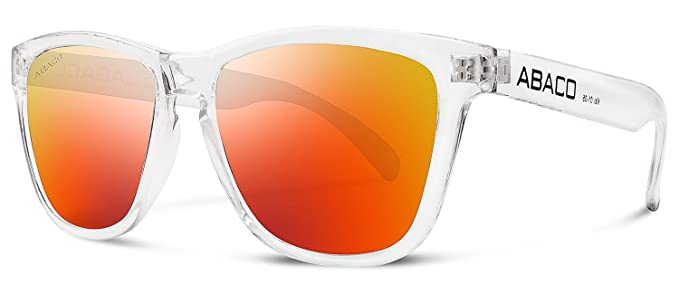0167256346e Image Unavailable. Image not available for. Color  Abaco Kai Sunglasses  Crystal Clear Frame Polarized Fire Mirror Lenses