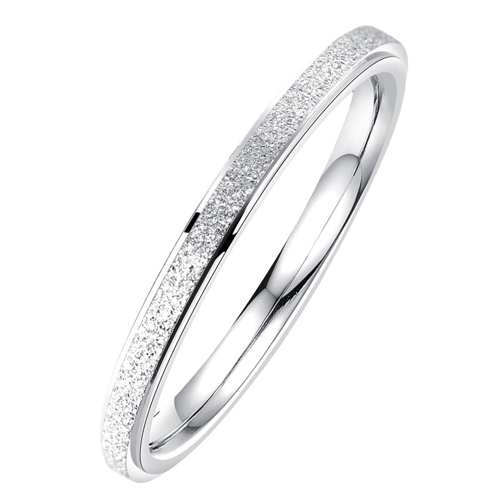 PAURO Women's Stainless Steel 2MM Thin Silver Stackable Midi Pinky Ring Engagement Wedding Band Size 6