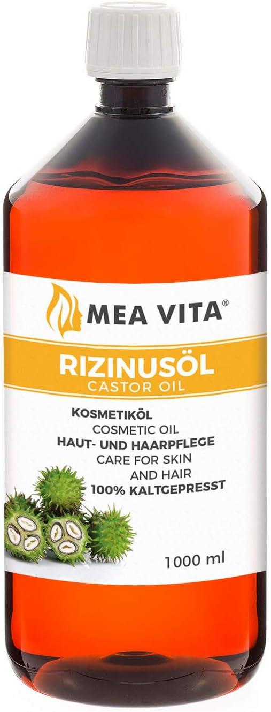 MeaVita aceite de ricino - puro, natural, vegano, sin hexano, no OGM, 1-Pack (1 x 1000 ml)