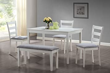 Monarch Specialties 5 Piece Dining Set With A Bench And 3 Side Chairs, White