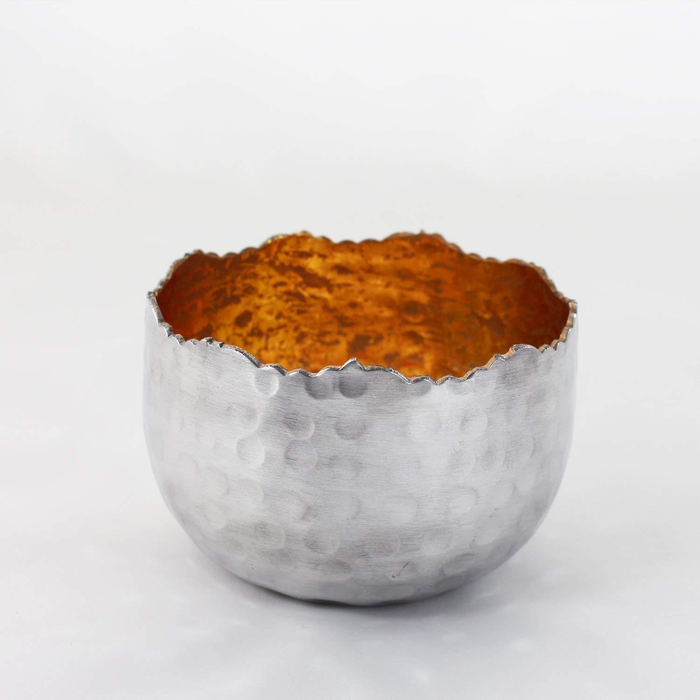 Teelichthalter MTeelichtschale Silber rotHandarbeit