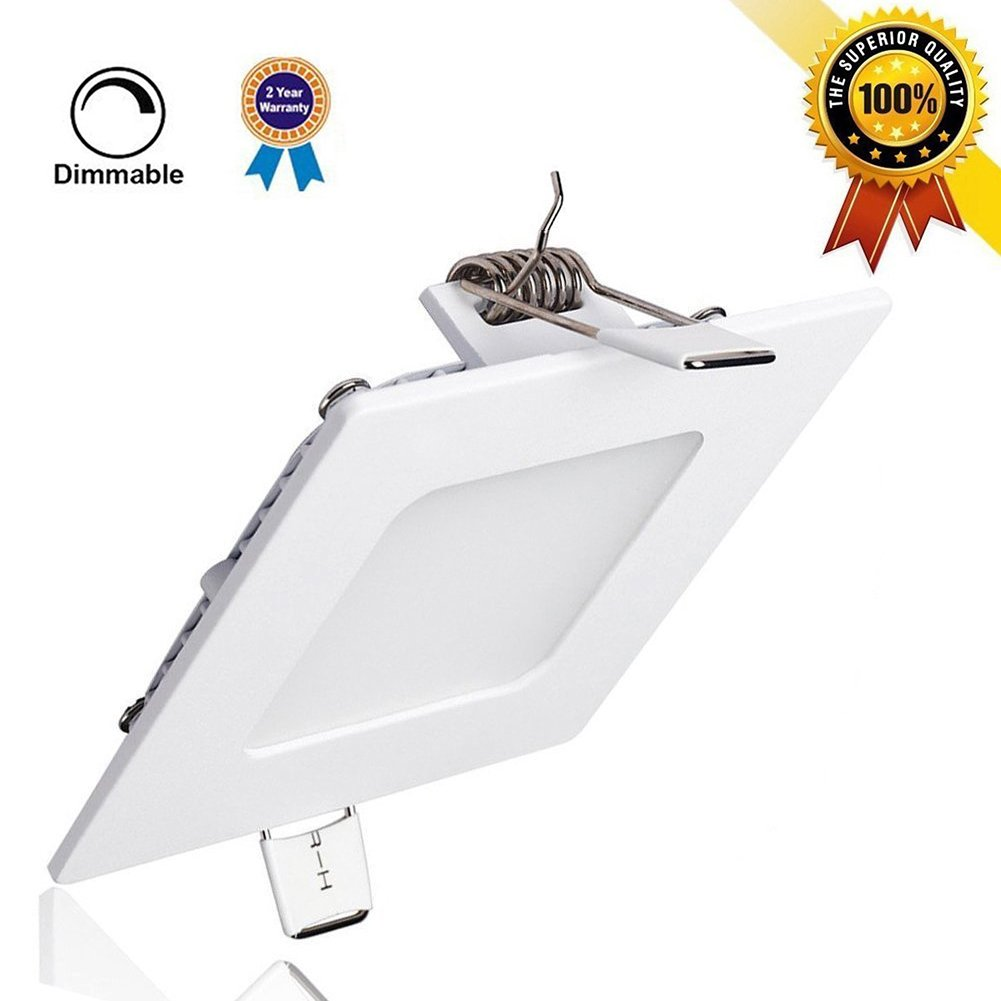 LED Panel Mount Light, SunGlobal 15W Dimmable Square Ultra-thin Recessed Ceiling Light, 100W Incandescent Equivalent, 1200lm, Warm White 3000K, Cut Hole 7.1 Inch, Down Lighting with 110V LED Driver