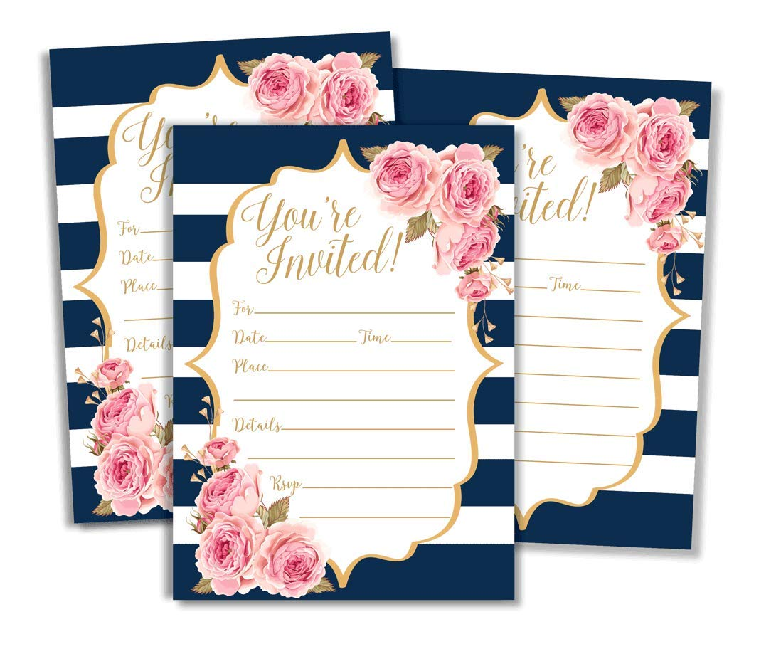 Watercolor Navy and Rose Floral Invitations and Envelopes (Large Size 5x7) - Any Occasion - Wedding Invitations, Bridal Shower, Rehearsal Dinner, Baby Shower, Anniversary, Retirement (50 Pack)