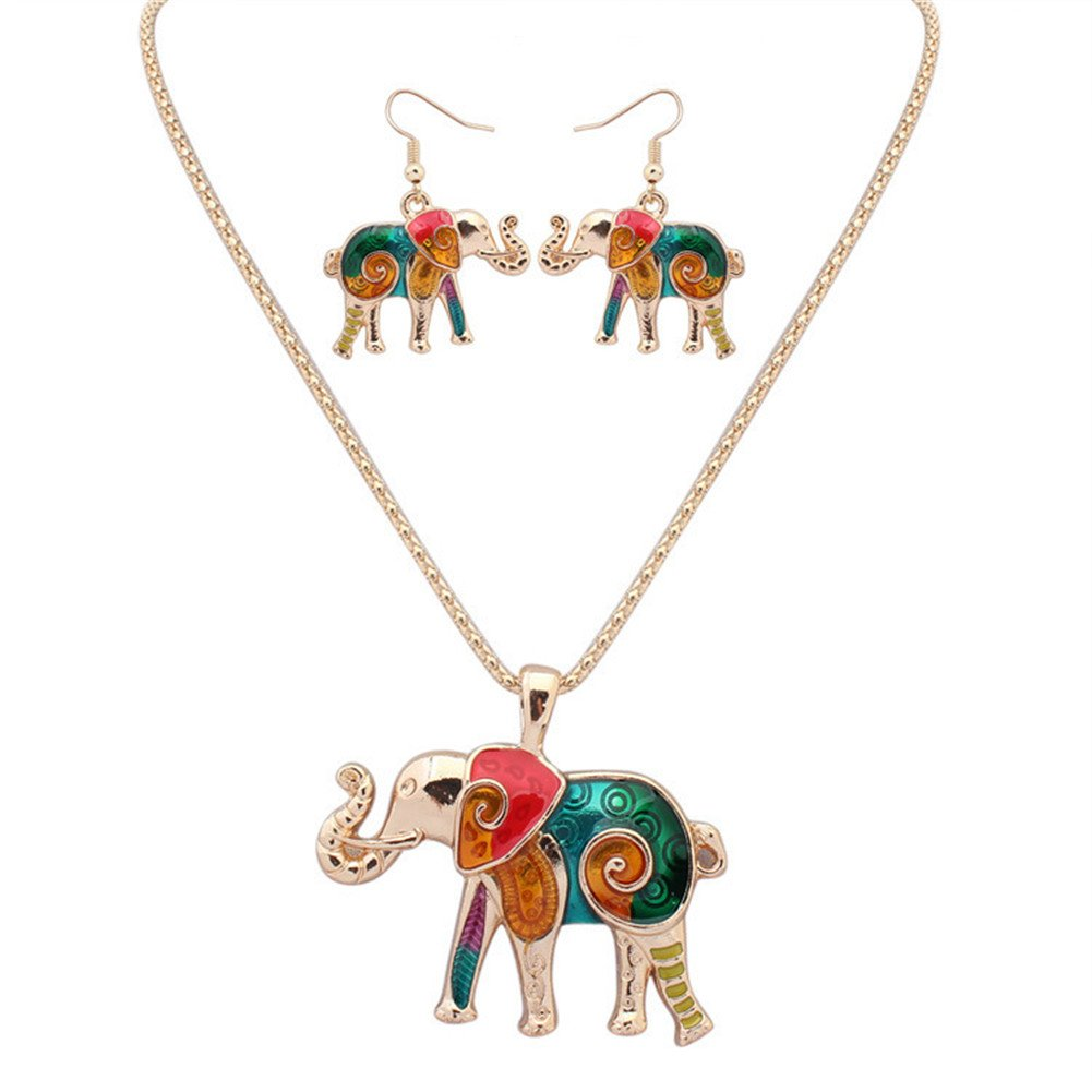 YJEdward Royal Wedding Elephant Necklace Earrings Jewelry Set Lovely Birthday Gift 2 Pcs by YJEdward