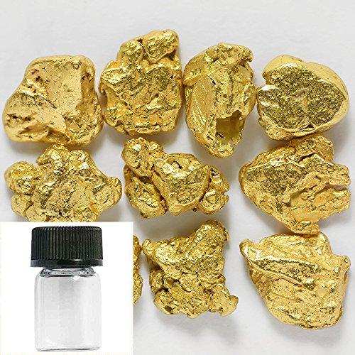 10 Pieces Alaska Natural Gold Nuggets Or Flake Specimen with Glass Bottle (Natural Gold Nugget)