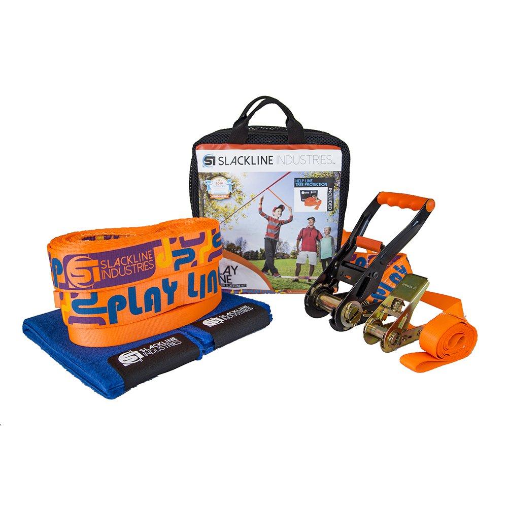 Slackline Industries Play Line - 50ft Slackline Kit for Beginners with Help Line, Ratchet, Tree Protectors, Reusable 'Zero Waste' Packaging by Slackline Industries