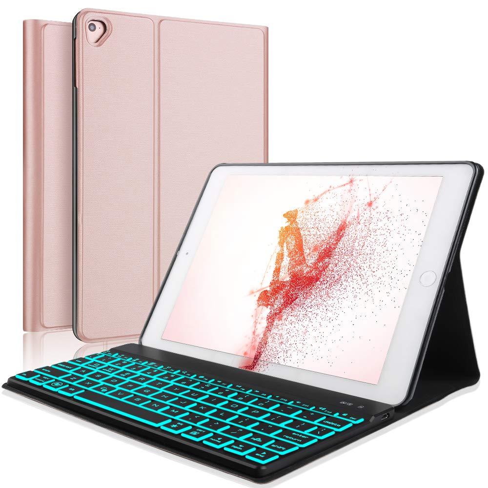 Boriyuanキーボードケースfor iPad 9.7 2018(6th Gen)、iPad 2017(5th Gen)、iPad Pro 9.7、iPad Air 2および1、iPadケース(取り外し可能バックライト付きキーボード(ローズゴールド)   B07LF8B8BW
