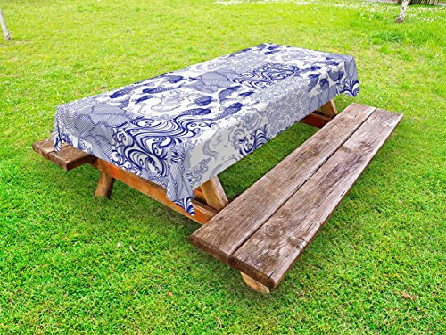 Lunarable Japanese Outdoor Tablecloth by, Stylized Japanese Patchwork Arts and Craft Pattern Nature Botanic Wildlife Figures, Decorative Washable Picnic Table Cloth, 58 X 104 Inches, Blue White by Lunarable
